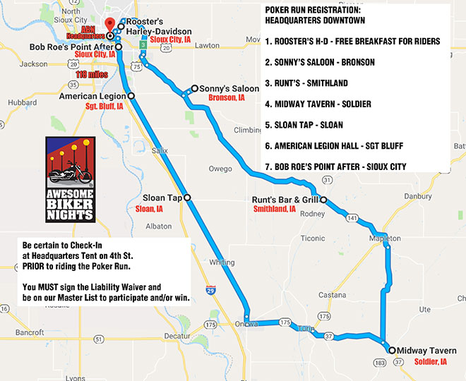 Poker Run Map 2018