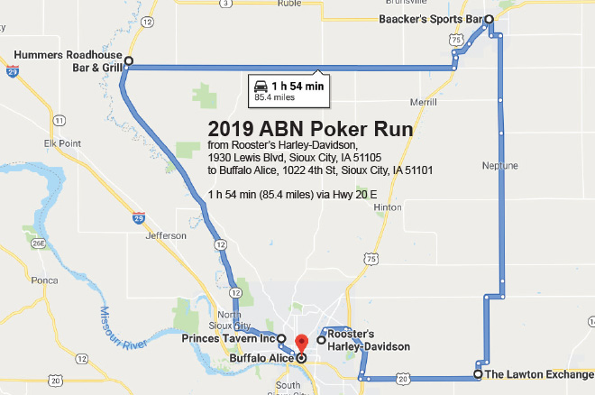 Poker Run Map 2019